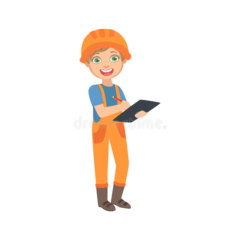 男孩有清单的工作管理者,作为在建造场所未来梦想行业集合的建造者穿戴的孩子 向量例证
