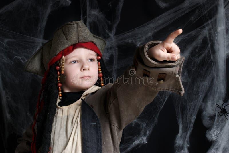 男孩服装一点海盗佩带 免版税图库摄影