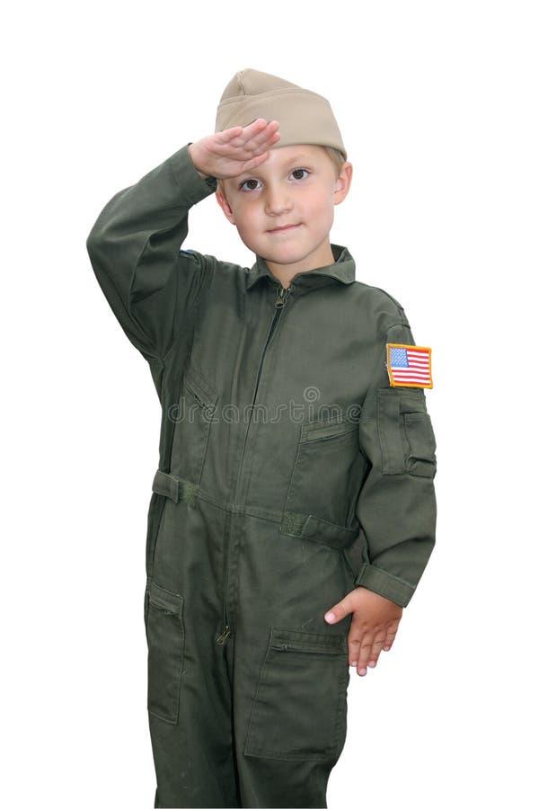 男孩查出的海军飞行员年轻人 免版税库存照片