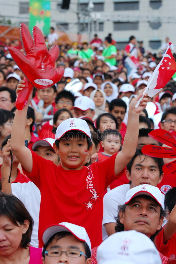 男孩标志手套藏品新加坡 免版税库存照片