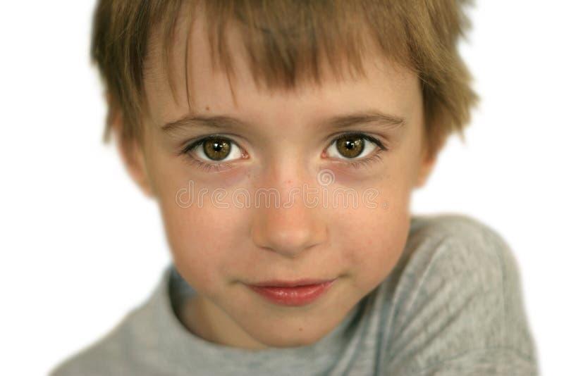 男孩棕色眼睛纵向 免版税库存图片