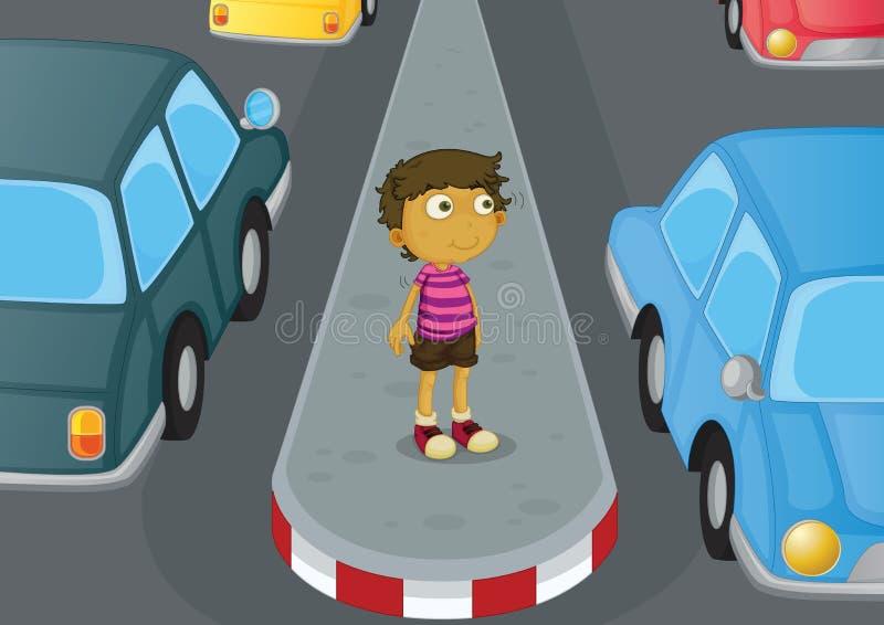 男孩横穿路 向量例证