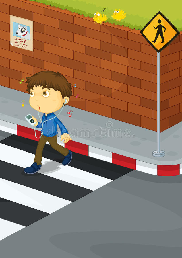男孩横穿路 库存例证