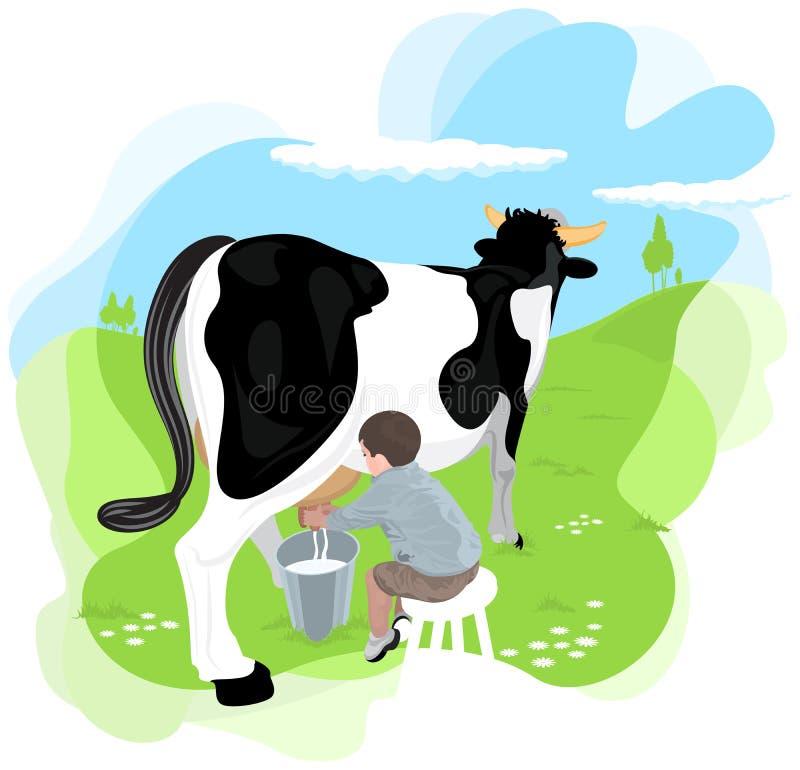 男孩母牛挤奶 皇族释放例证