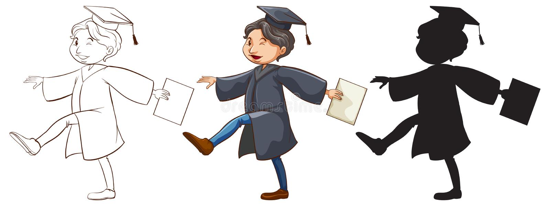 男孩毕业的三个剪影 向量例证