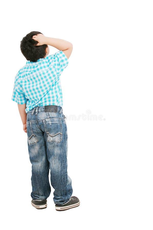 男孩沉思的一点 免版税库存图片