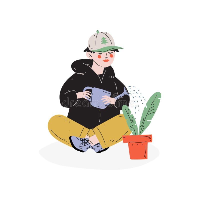 男孩浇灌的室内植物,爱好,教育,创造性的儿童发育传染媒介例证 库存例证