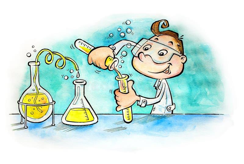 男孩混合的物质在实验室 库存例证