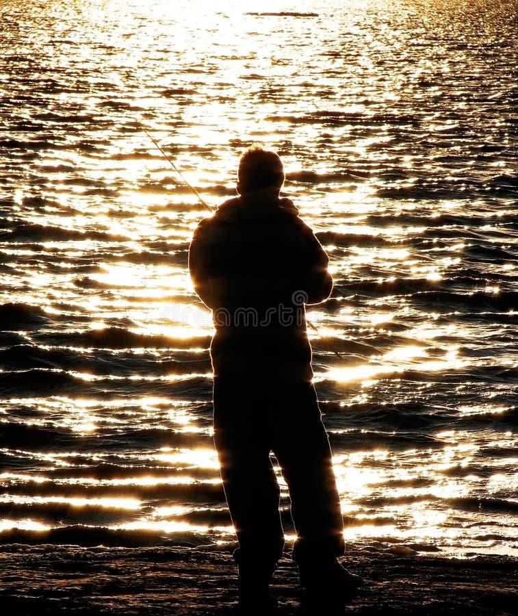 男孩渔夫 免版税库存图片