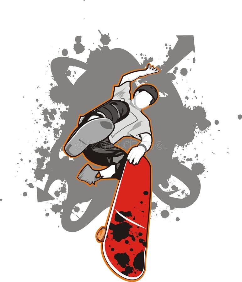 男孩溜冰者 向量例证