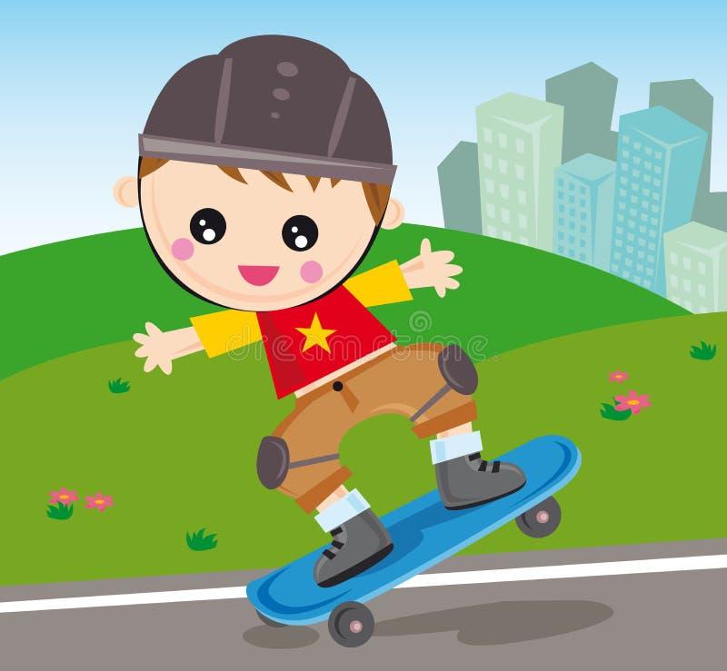 男孩滑板 皇族释放例证