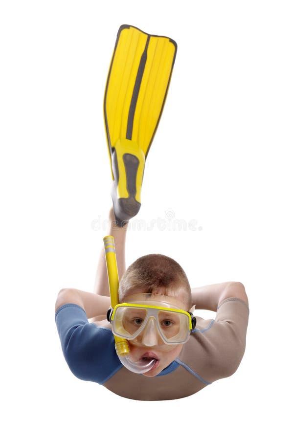 男孩潜水屏蔽水肺 库存图片
