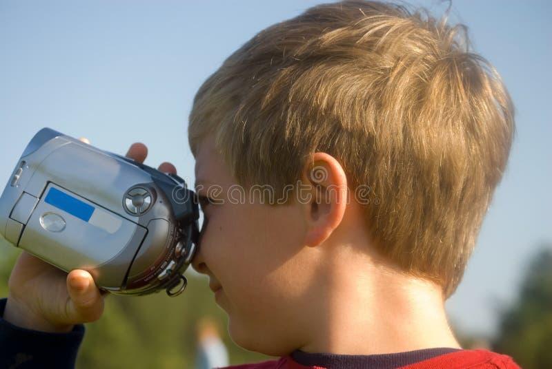 男孩照相机录影 免版税库存照片