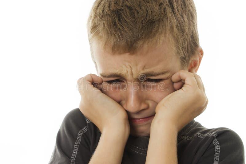 男孩特写镜头哭泣 免版税库存照片
