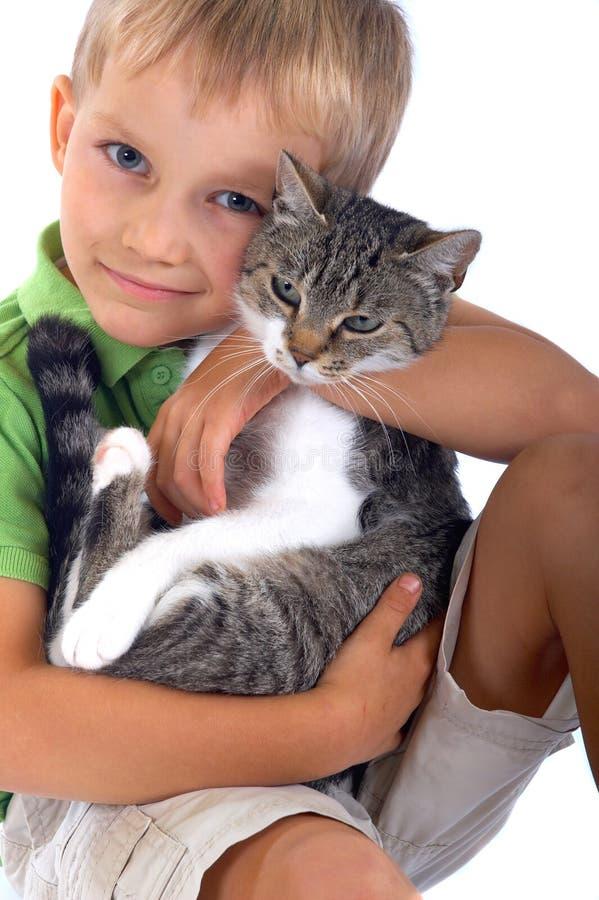 男孩猫年轻人 图库摄影