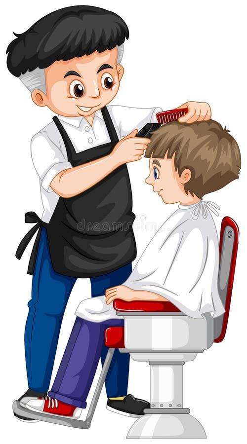 给男孩理发的理发师 向量例证