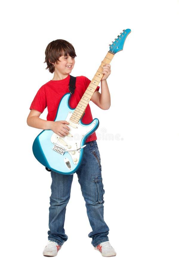 男孩电吉他丝毫 免版税库存照片