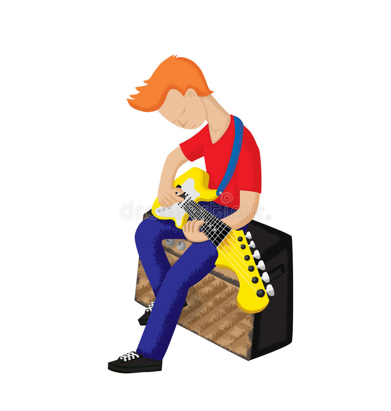 男孩电吉他使用 免版税库存图片