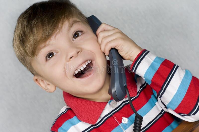 男孩电话 库存图片