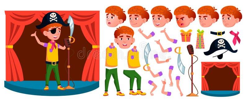 男孩男小学生孩子传染媒介 小学孩子 动画创作集合 学生活动 公演 为 库存例证