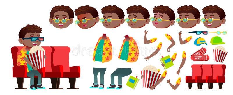 男孩男小学生孩子传染媒介 投反对票 美国黑人 动画创作集合 滑稽的子项 小辈 生活方式,友好 为 向量例证