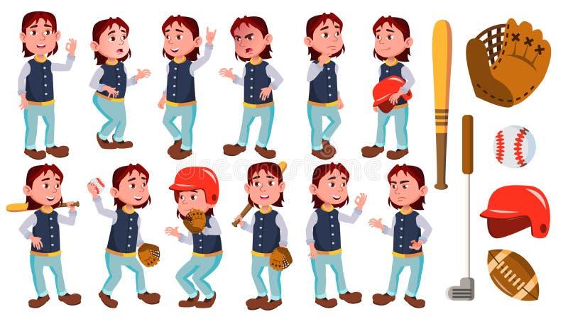 男孩男小学生孩子姿势被设置的传染媒介 小学孩子 棒球详细例证球员体育运动 微笑 对广告,招呼 向量例证