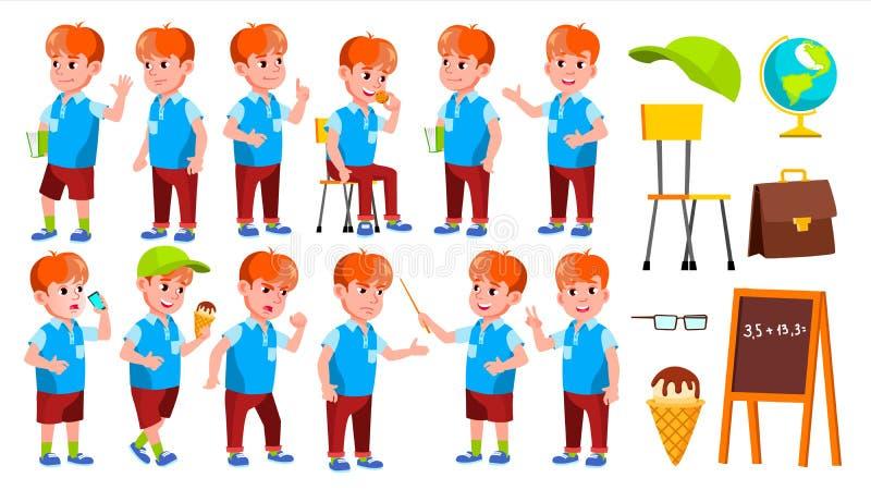 男孩男小学生孩子姿势被设置的传染媒介 小学孩子 美丽的孩子 字母表 青年时期,白种人 对卡片 库存例证