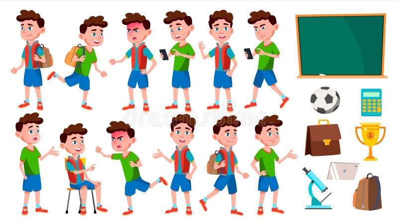 男孩男小学生孩子姿势被设置的传染媒介 小学孩子 逗人喜爱的子项 幸福享受 欢呼,相当 为 库存例证
