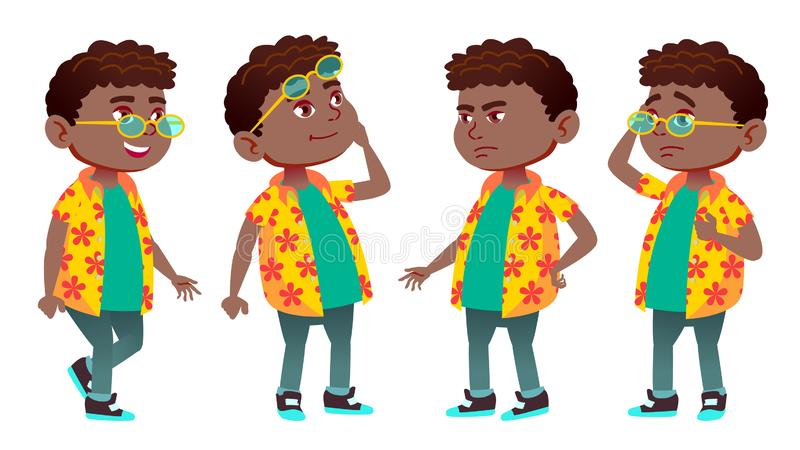 男孩男小学生孩子姿势被设置的传染媒介 投反对票 美国黑人 小学孩子 学童 演讲 欢迎,是 为 皇族释放例证