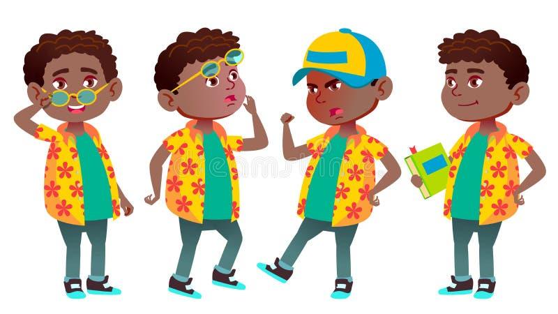 男孩男小学生孩子姿势被设置的传染媒介 投反对票 美国黑人 小学孩子 教育,研究 喜悦 知识 向量例证
