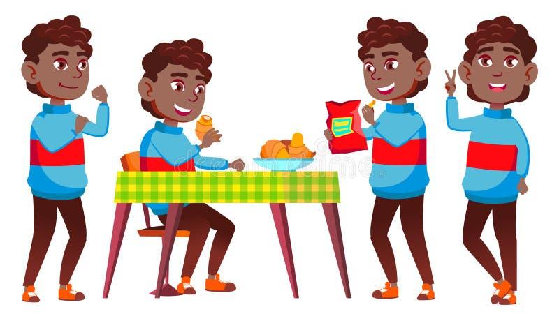 男孩男小学生孩子姿势被设置的传染媒介 投反对票 美国黑人 高中孩子 中等教育 便衣,朋友 向量例证