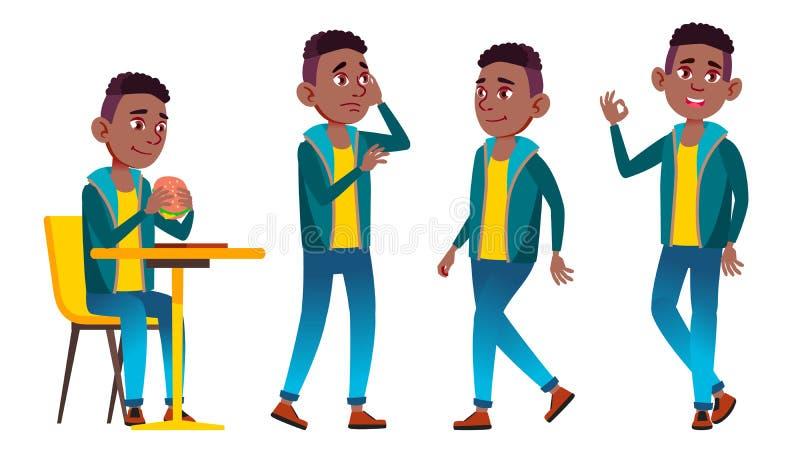 男孩男小学生孩子姿势被设置的传染媒介 投反对票 美国黑人 高中孩子 儿童学生 主题,聪明,学习 为 库存例证