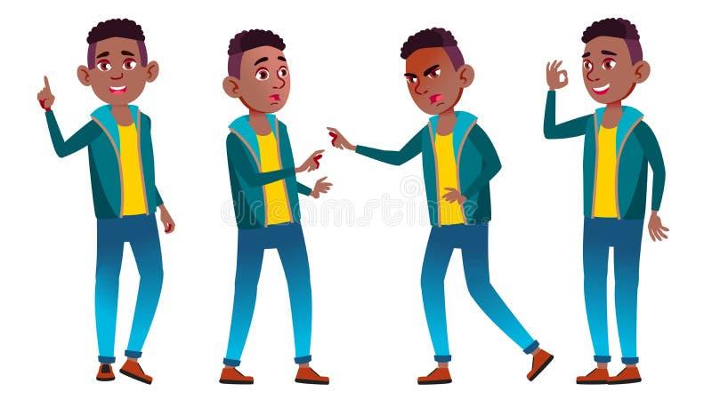 男孩男小学生孩子姿势被设置的传染媒介 投反对票 美国黑人 高中孩子 教,教育, Schoolkid 为 库存例证