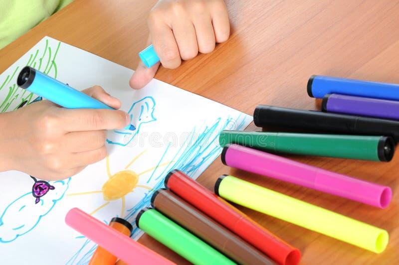 男孩白种人画纸 免版税图库摄影