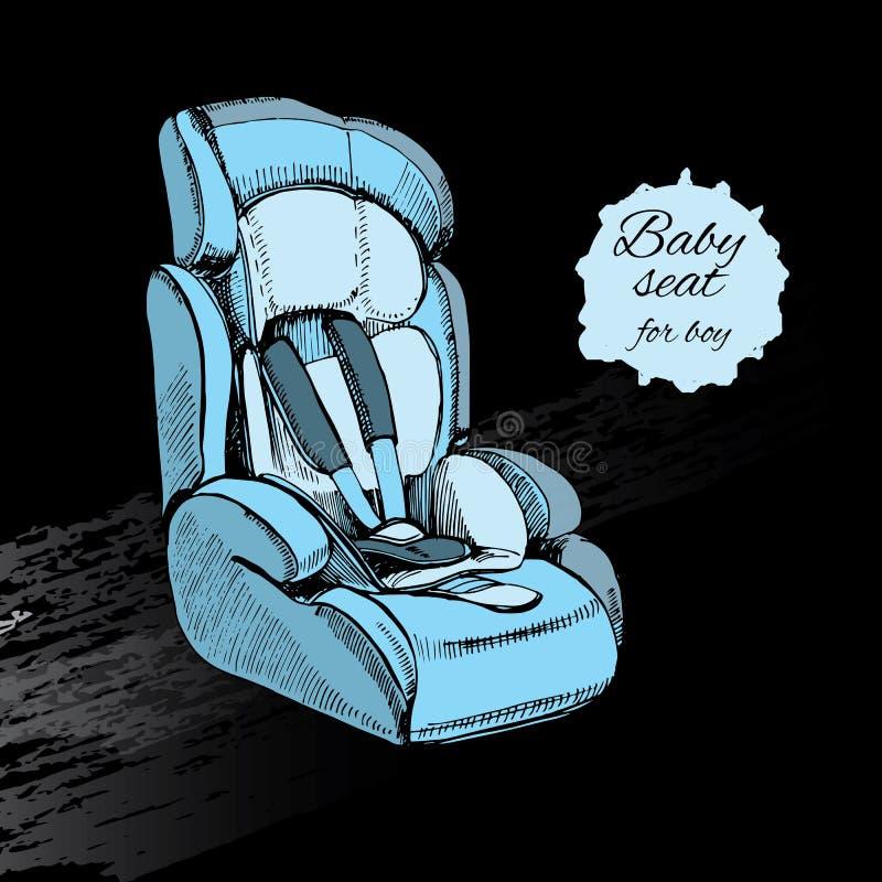 男孩的手拉的婴孩位子 微型汽车 设计的要素 库存例证