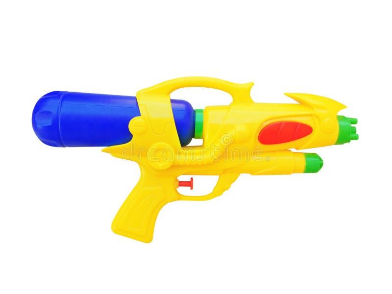 男孩的玩具枪白色背景的 图库摄影