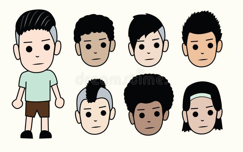 男孩的表面 人发型和肤色的不同的类型 向量 皇族释放例证