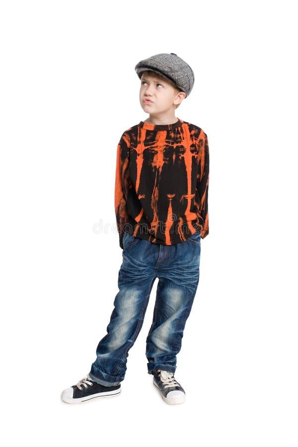 男孩盖帽沉思佩带 免版税图库摄影