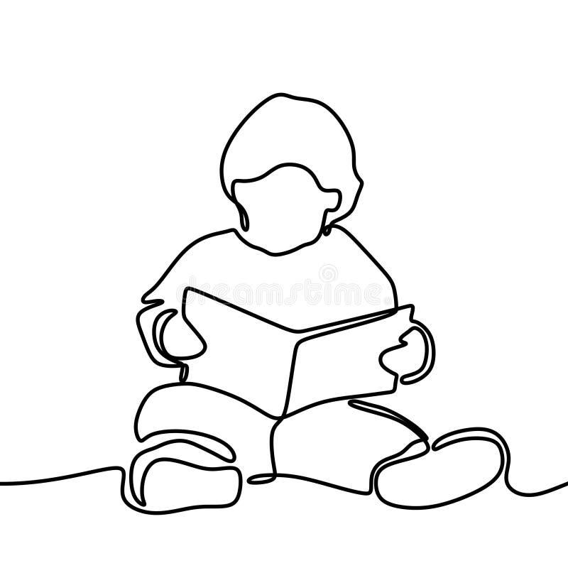 男孩看书一实线在白色背景隔绝的图画回到学校题材 向量例证