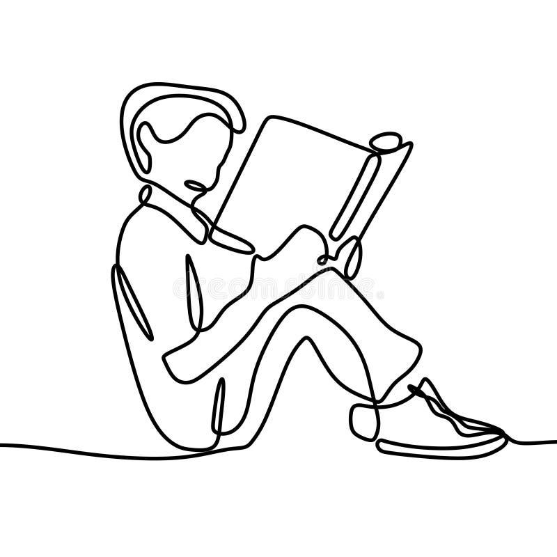 男孩看书一实线在白色背景隔绝的图画回到学校题材 皇族释放例证