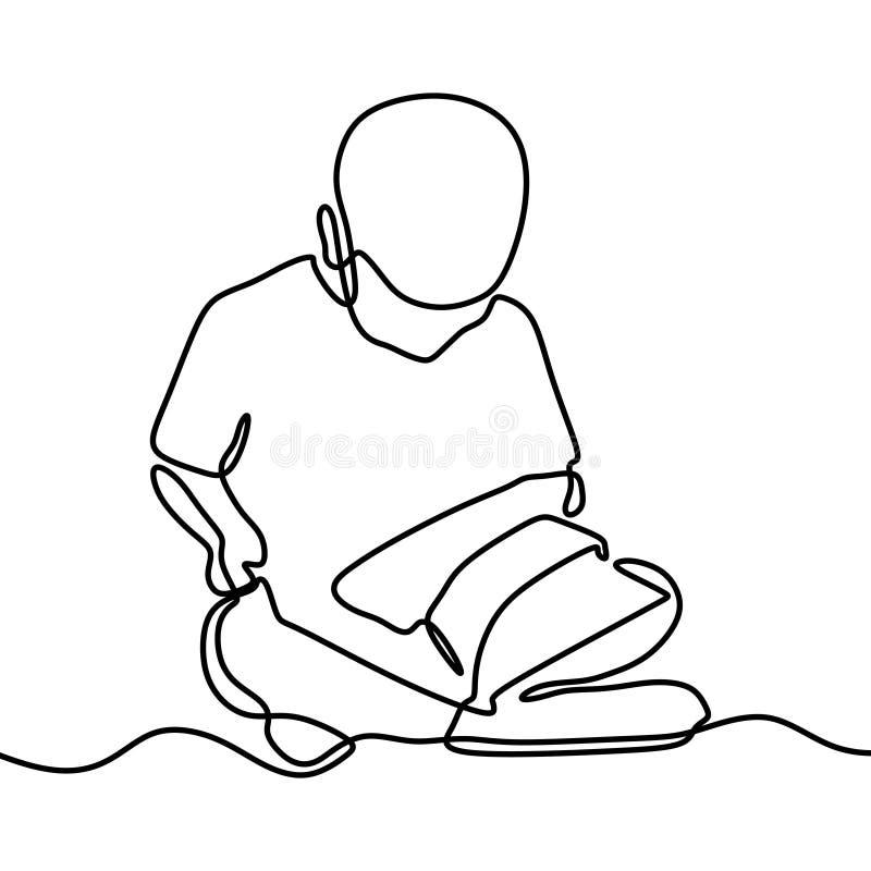 男孩看书一实线在白色背景隔绝的图画回到学校题材 库存例证