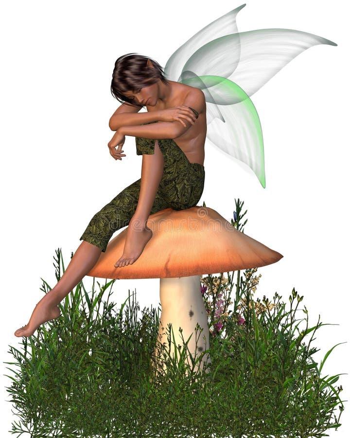 男孩神仙的坐的伞菌 向量例证