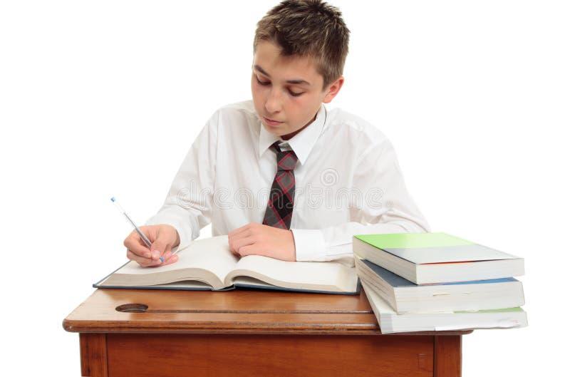 男孩纯谨的学校学员 免版税库存图片