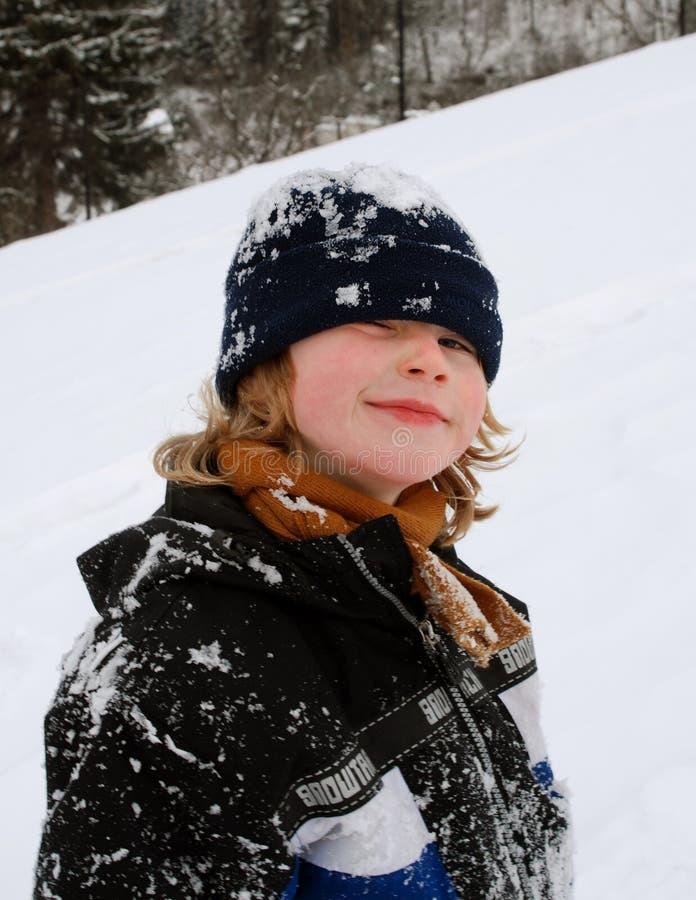 男孩纵向冬天 免版税库存图片