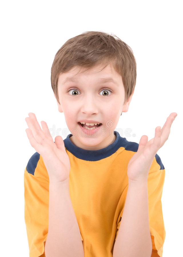 男孩纵向惊奇了 库存图片