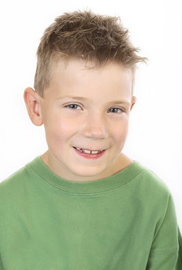 男孩绿色纵向 图库摄影