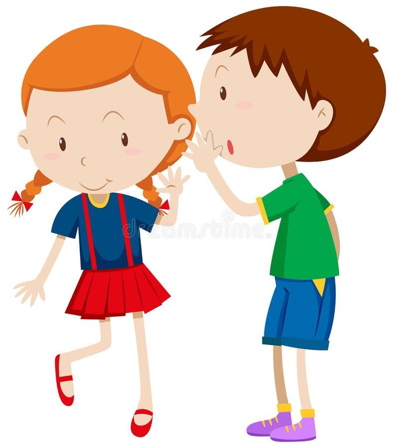 男孩耳语对女孩 向量例证