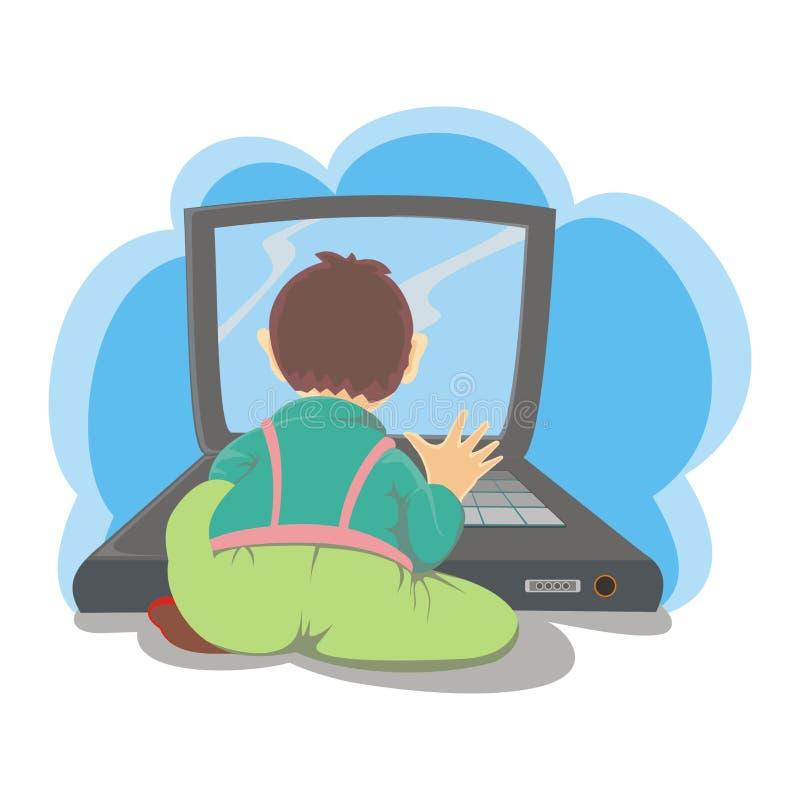 男孩膝上型计算机使用 向量例证