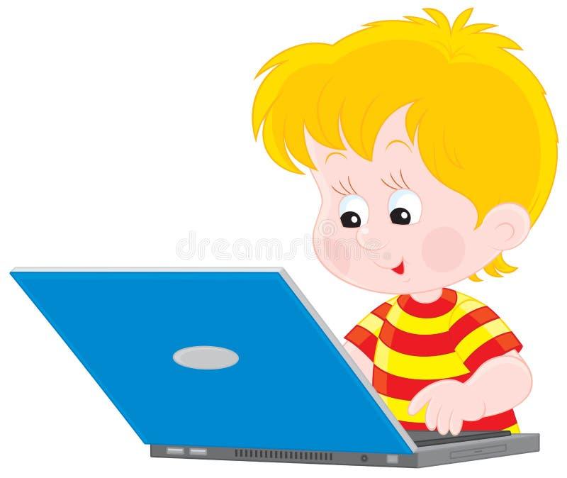 男孩膝上型计算机 皇族释放例证