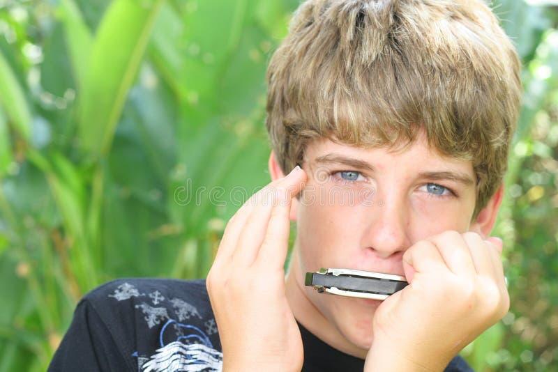 男孩英俊的口琴 免版税图库摄影